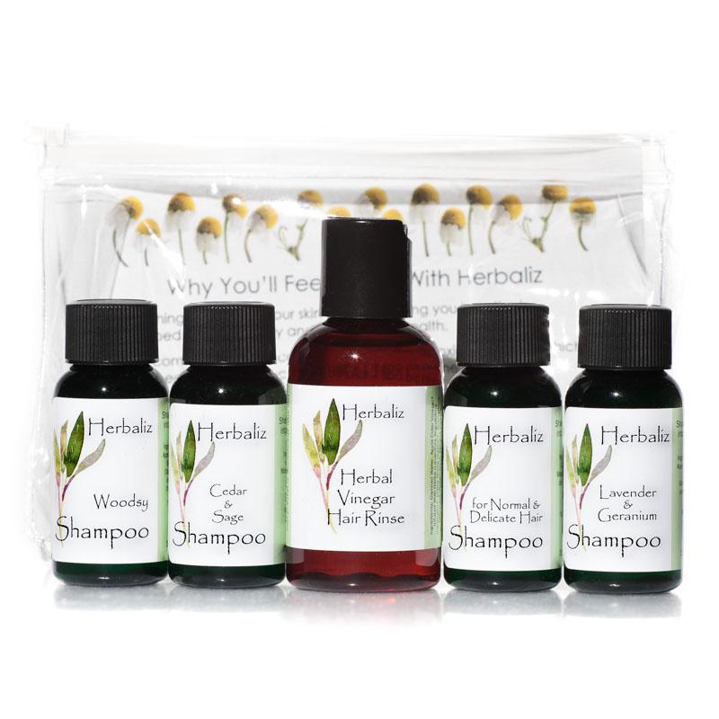 Sampler  Hair Care - One Ounce Sizes-natural shampoo, rosewood, ginger, lavender, yarrow, cedar, sage, geranium, organic shampoo, shampoo sample sizes
