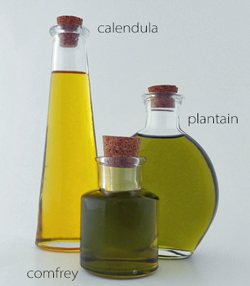 infused oils in clear glass